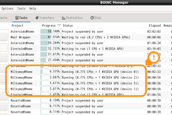 GPU 4枚挿しでBOINC