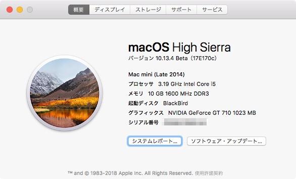 Pro6300の「このMacについて」