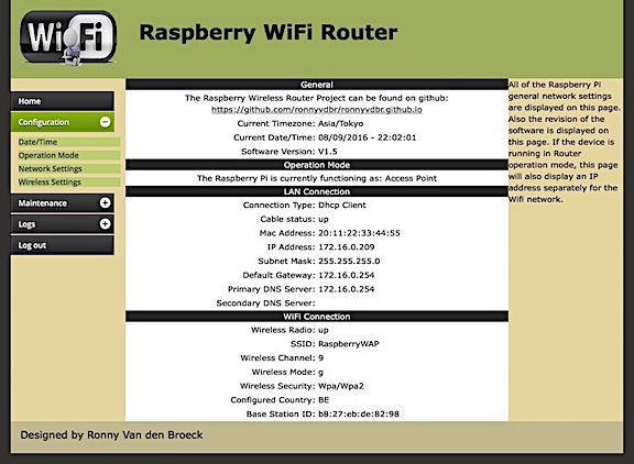 Raspberry WiFi RouterのWeb GUIトップ