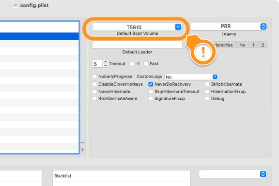Default Boot Volume をインストールターゲットとなるボリューム名で書き換え