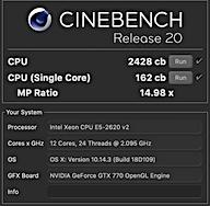 Cinebench : E5-2620 v2 ×2の結果