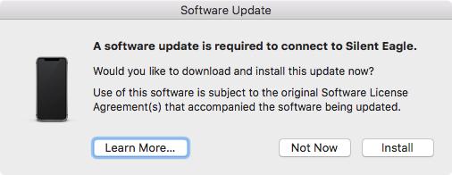 Mobile Device Update インストールのダイアログ
