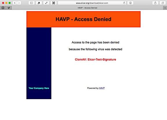 havp でブロックされた eicar テストファイル