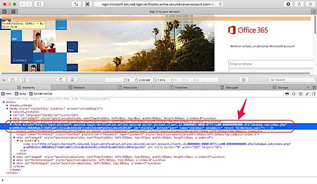 偽装されたOffice365ログインページのソースを表示