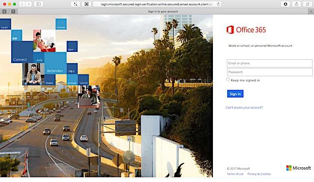 偽装されたOffice365ログインページ